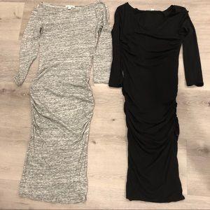 LOT 2 James Perse Black Dress & Grey Dress 0 1 XS